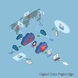 Безопасность плоской сети 3d равновеликая онлайн, данные Стоковые Фото