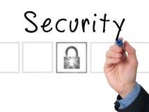 Безопасность сочинительства руки бизнесмена на прозрачной доске Стоковая Фотография