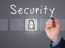 Безопасность сочинительства руки бизнесмена на прозрачной доске Стоковое Изображение