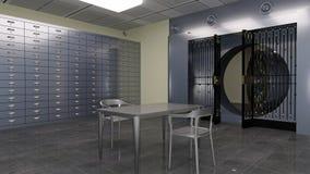 Безопасный свод, внутри банковского хранилища с сейфами и таблицей и стульями металла, иллюстрация 3D Стоковое Изображение RF