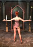 Безпассудство priestess фантазии с рожками перед волшебным зеркалом Стоковые Фото