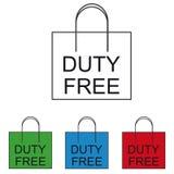 Безпошлинная хозяйственная сумка - красочные значки вектора бесплатная иллюстрация