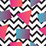 Безшовная абстрактная геометрическая картина в ретро стиле Мемфиса, с линией картиной зигзага Стоковые Изображения RF
