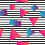 Безшовная абстрактная геометрическая картина в ретро стиле Мемфиса, с горизонтальными прямыми Стоковое фото RF