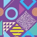 Безшовная абстрактная геометрическая картина в ретро стиле Мемфиса Стоковое Изображение RF