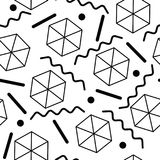 Безшовная абстрактная геометрическая картина в ретро стиле Мемфиса Стоковое фото RF