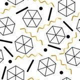 Безшовная абстрактная геометрическая картина в ретро стиле Мемфиса Стоковые Изображения RF
