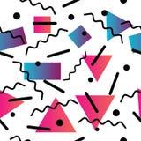 Безшовная абстрактная геометрическая картина в ретро стиле Мемфиса Стоковое Изображение