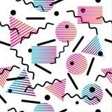 Безшовная абстрактная геометрическая картина в ретро стиле Мемфиса Стоковые Фотографии RF