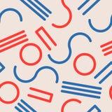 Безшовная абстрактная геометрическая картина в ретро стиле Мемфиса Стоковые Изображения
