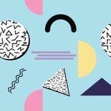 Безшовная абстрактная геометрическая картина в ретро стиле Мемфиса Стоковые Фото