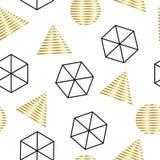 Безшовная абстрактная геометрическая картина, с hexagonals, треугольниками, и кругами, Стоковые Изображения