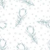 Безшовная абстрактная картина с пер и точками павлина Стоковая Фотография