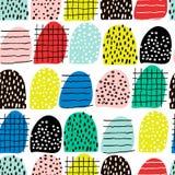Безшовная абстрактная картина с формами и элементами нарисованными рукой Текстура вектора ультрамодная Яркий творческий дизайн тк Стоковое фото RF