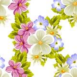 безшовная абстрактная картина цветков и листьев на белой предпосылке Открытки, приветствие, праздник, свадьба, день рождения, пар иллюстрация штока