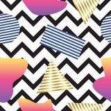 Безшовная абстрактная линия картина зигзага, с полигональной картиной Стоковые Изображения RF
