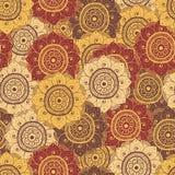 Безшовная абстрактная нарисованная вручную восточная картина doddle, коричневый цвет Стоковое Изображение RF