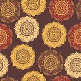 Безшовная абстрактная нарисованная вручную восточная картина doddle, коричневый цвет Стоковое фото RF