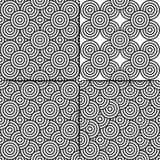 Безшовная абстрактная предпосылка черно-белых кругов Стоковое Фото