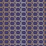 Безшовная абстрактная ретро геометрическая картина Соединенные цепные круги в белом, пурпурном и тенях желтого цвета иллюстрация штока