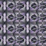 Безшовная абстрактная ретро картина Смешанные кривые и линии в геометрическом плане иллюстрация штока