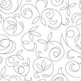 Безшовная абстрактная черная флористическая изолированная предпосылка Стоковые Фото