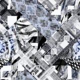 Безшовная абстрактная этническая серая и белая картина заплатка иллюстрация штока