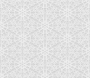 Безшовная арабская геометрическая картина, 3D белая картина, индийский орнамент, персидский мотив, вектор Бесконечную текстуру мо Стоковые Изображения