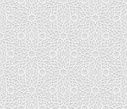 Безшовная арабская геометрическая картина, 3D белая картина, индийский орнамент, персидский мотив, вектор Бесконечную текстуру мо Стоковые Фотографии RF