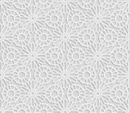Безшовная арабская геометрическая картина, 3D белая картина, индийский орнамент, персидский мотив, вектор Бесконечная текстура Стоковые Изображения RF