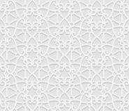 Безшовная арабская геометрическая картина, 3D белая картина, индийский орнамент, персидский мотив, вектор Бесконечную текстуру мо Стоковое Фото
