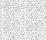 Безшовная арабская геометрическая картина, 3D белая предпосылка, индийский орнамент, персидский мотив, текстура вектора Бесконечн Стоковые Изображения RF
