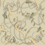 Безшовная барочная печать с золотыми цепями, оплетка, жемчуга, поясы, tassel, барочные elments для дизайна ткани иллюстрация вектора