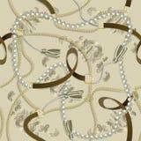 Безшовная барочная печать с золотыми цепями, оплетка, жемчуга, поясы, tassel, барочные elments для дизайна ткани стоковые фотографии rf