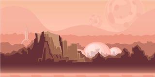 Безшовная бесконечная предпосылка для игры или анимации Поверхность планеты Марса с горами, поселения космоса и бесплатная иллюстрация