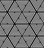 Безшовная белая и черная Striped картина треугольника Полигональная геометрическая абстрактная предпосылка Соответствующий для тк Стоковое фото RF
