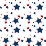 Безшовная белая картина с красной предпосылкой голубых звезд иллюстрация штока