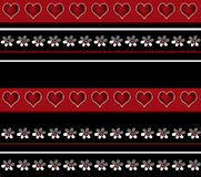 Безшовная белая картина флористических и сердец на предпосылке Стоковые Фотографии RF