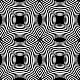 Безшовная белая Striped картина вогнутого прямоугольника на черной предпосылке Визуальное влияние тома Стоковые Изображения RF