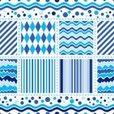 Безшовная бело-голубая картина волны иллюстрация штока