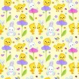 Безшовная весна картины с милым зайчиком и цыпленком Стоковое Фото