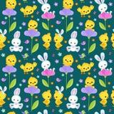 Безшовная весна картины с милым зайчиком и цыпленком Стоковые Фотографии RF