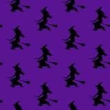 Безшовная ведьма картины на венике Стоковая Фотография