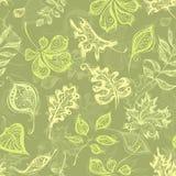 Безшовная винтажная картина листьев Стоковое фото RF