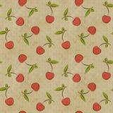 Безшовная винтажная картина с вишнями Стоковое Изображение