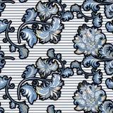 Безшовная винтажная картина с декоративными голубыми цветками стоковое фото rf