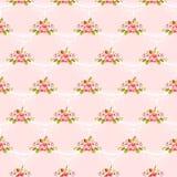 Безшовная винтажная картина с розовыми розами Стоковые Изображения