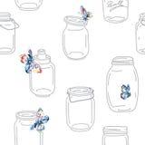 Безшовная винтажная причудливая картина с опарниками и бабочками Стоковые Фотографии RF