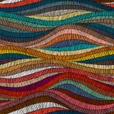 Безшовная вышитая картина Волнистая богемская печать Заплатка оранжевая Стоковое Фото