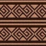 Безшовная вязать геометрическая картина в коричневых оттенках Стоковая Фотография